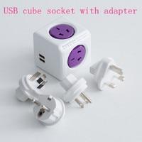 New PowerCube Wall USB Socket 250V Table Cube Plug USB Socket Adapter With EU AU UK