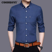 COODRONY Business Casual Shirt Men Famous Brand Clothing 2017 New Autumn Dress Cotton Shirts With Pocket