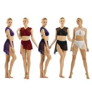 Image 2 - Frauen Ballerina Ballett Kleid lyrical dance kostüme Asymmetrische Zeitgenössische Ärmel Criss Cross Crop Tops mit Ballett Rock
