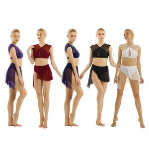 Image 2 - Robe de ballerine pour femme, déguisement de danse lyrique, contemporain asymétrique, hauts court et croisé avec jupe pour le Ballet