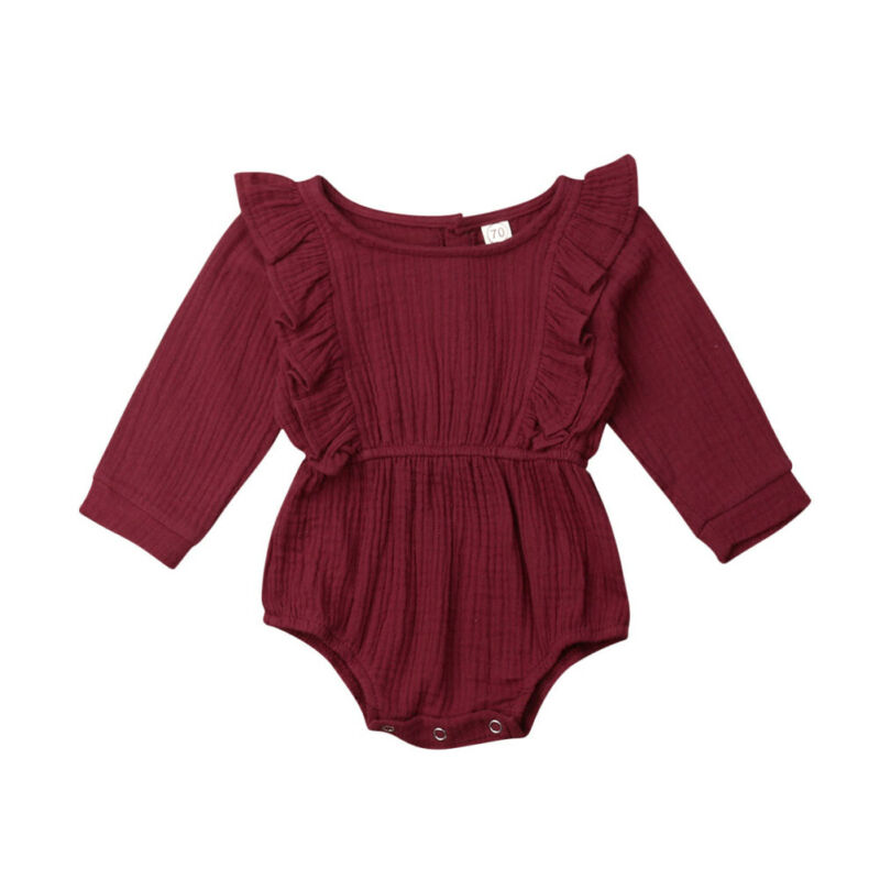 0-24M Newborn Infant Baby Girls Ruffles   Rompers   Vintage Jumpsuit Long Sleeve Autumn Spring Baby Girls Costumes Clothes
