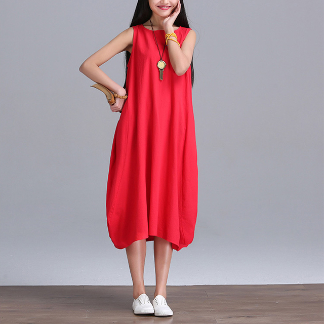 2017 New Summer dress Fashion women Clothing Loose Plus Size sleeveless Dress Casual Cotton Linen Sundress Vestidos Robe