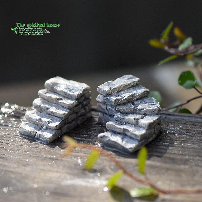 1 peças Pedra cinza caminhada caminho escadas em miniatura fada jardim decoração de casa mini Artesanato Micro paisagismo DIY decor acessórios Íntimo