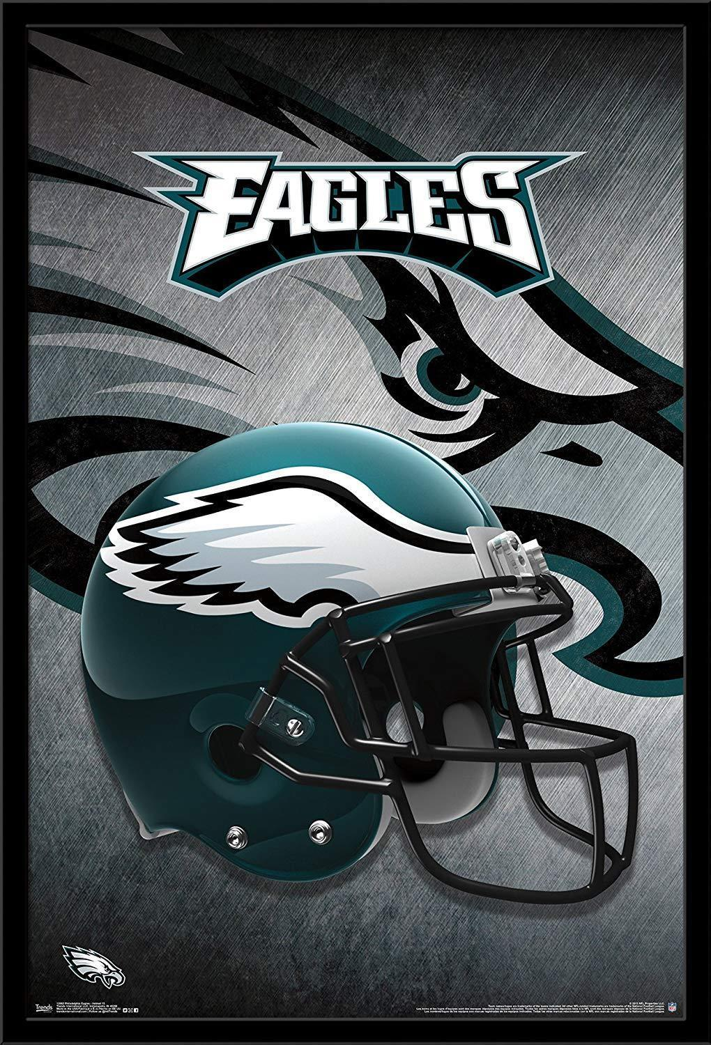 the latest c4a65 2b8c5 N0105 Trends International Philadelphia Eagles Helmet, Wall Sticker Silk  Fabric Poster Art Indoor Decor Bright