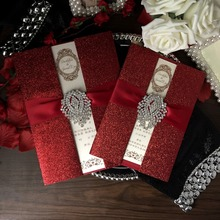 Red Wedding Invitations, Bridal Shower Invitation, Luxury Invitation With Ribbon - Set of 30