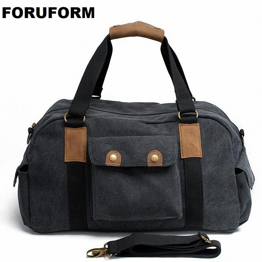 2018 Fashion Canvas Solid Unisex Large Capacity Travel Tote cross-body Classic Handbag Casual Vintage Men Messenger Bag LI-1637