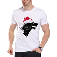 Game Of Thrones Men T Shirts Christmas Ice Wolf Funny Jon Snow Design Digital Printed Combed