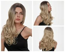 HANNE Long Wavy Synthetic Wigs Ombre Blonde/Grey/Brown/Pink Natural Wig High Temperature Fiber Wigs for Black or White Women
