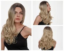 HANNE uzun dalgalı sentetik peruk Ombre sarışın/gri/kahverengi/pembe doğal peruk yüksek sıcaklık Fiber peruk siyah veya beyaz kadınlar