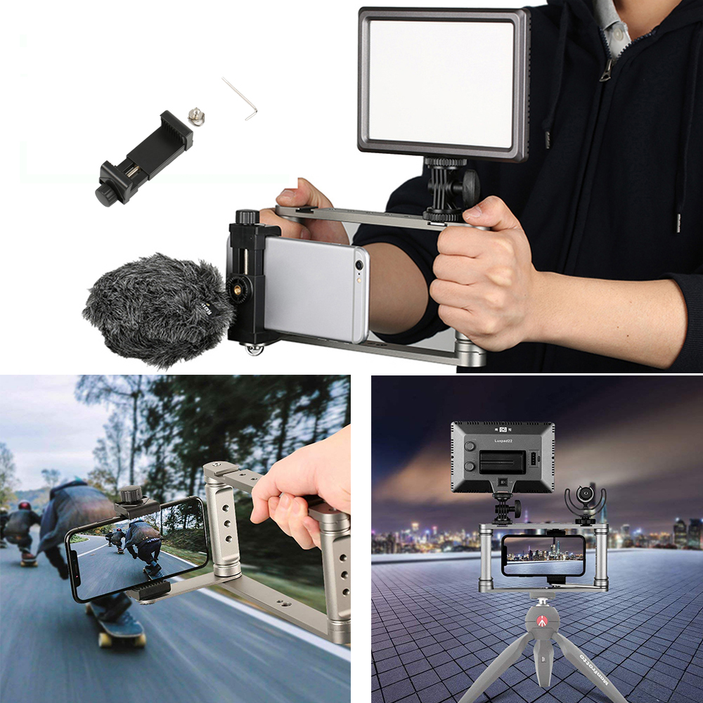 все цены на Smartphone Video Rig Camera Handheld Video Microphone Stabilizer Grip Tripod LED Light for iPhone Max X 8 7 Samsung Xiaom GoPro онлайн