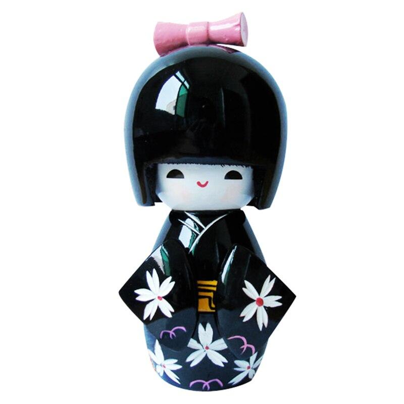 Wooden Traditional Japanese Kimono Kokeshi Doll Desk Decoration Black