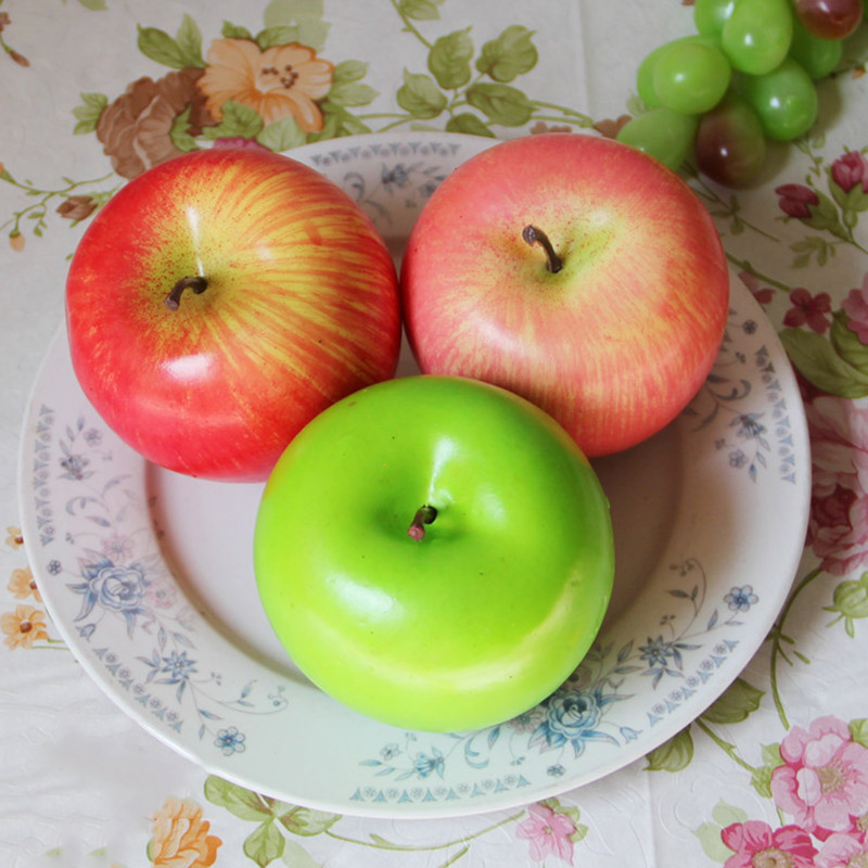 1pc Artificial Apple Simulation Fruit Fake Red Apple Green Apple Model Ornaments Food Photography Props Home Decorative Crafts