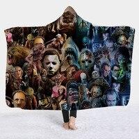 Horror Movie Character Hooded Blanket for Adult Gothic Halloween Killers Sherpa Fleece Wearable Throw Blanket Microfiber Bedding