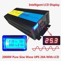 2000W/4000W(Peak) uninterruptible power supply Pure Sine Wave Power Inverter +Charger & UPS DC 24V to AC 220V LED Display