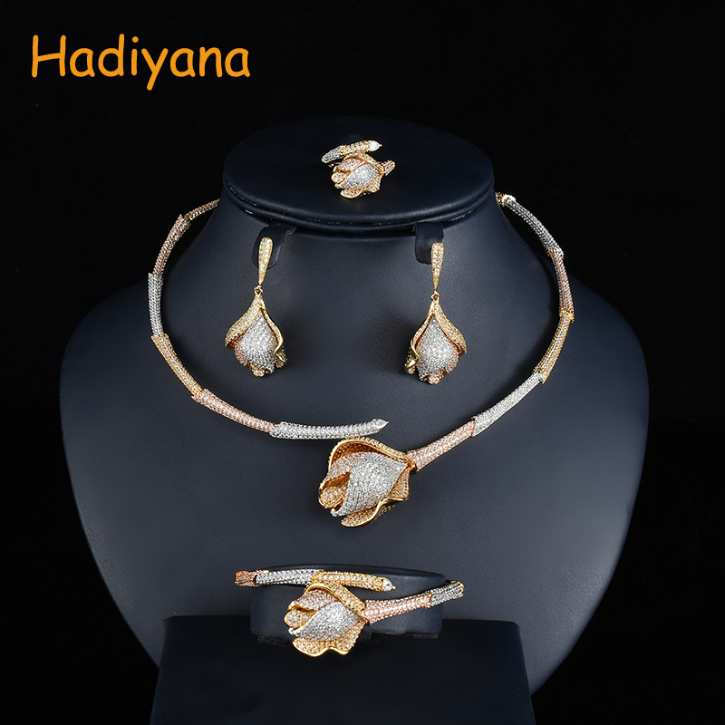 Hadiyana Fashion Bamboo Knot Rose Flower Jewelry Set 3 Tone Design Women Wedding Bride Dubai 4PCS