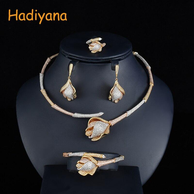 Hadiyana Mode Bambou Noeud Rose Fleur Ensemble De Bijoux 3 Tons Conception Femmes Mariage Mariée Dubaï 4 pièces Ensembles Avec Zircone Cubique CN739