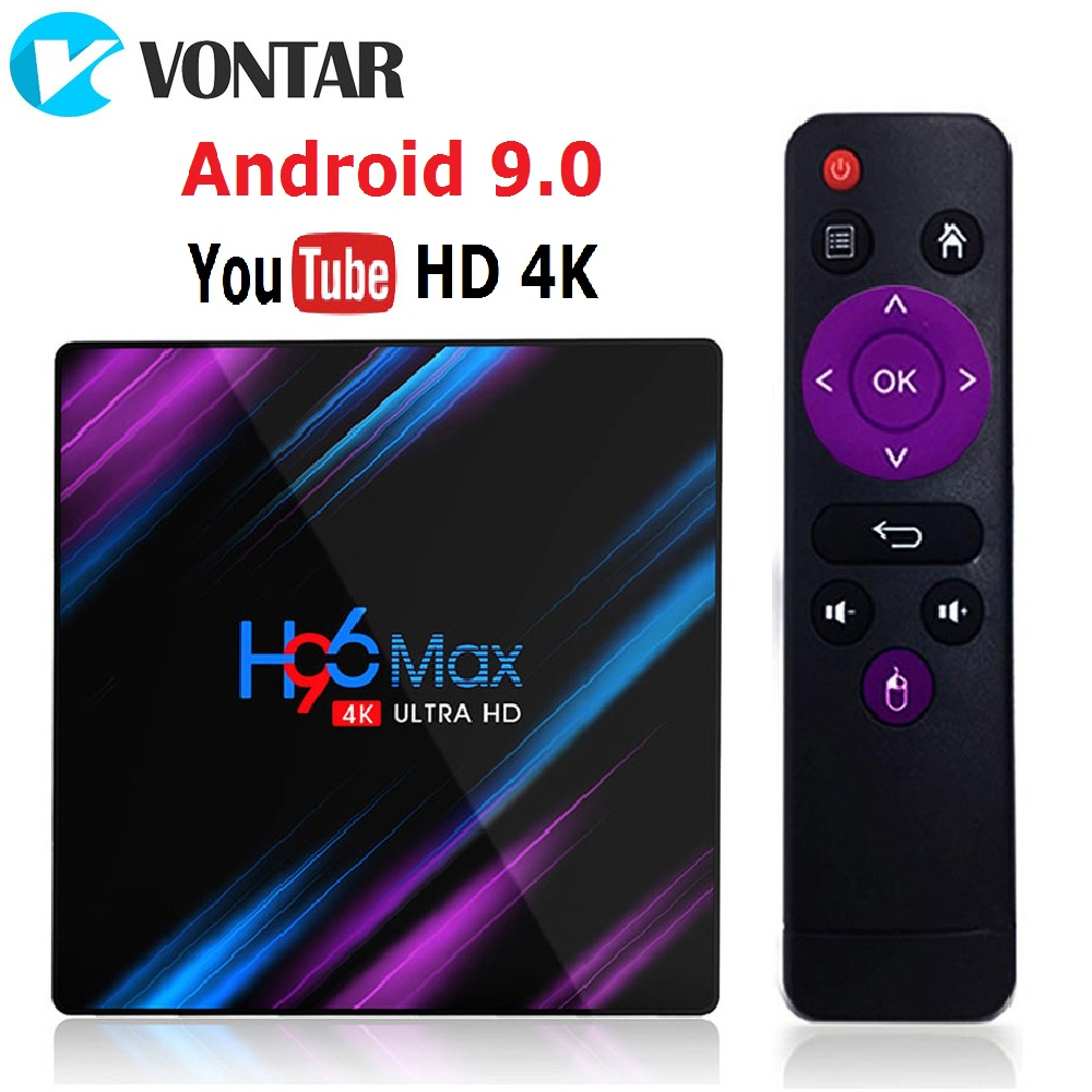 VONTAR Android 9.0 TV Box H96 MAX Rockchip RK3318 4GB RAM 64GB H.265 4K Google Voice