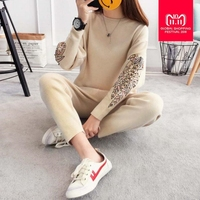 2018 Fashion brand design cotton knit beading Suit Embroidery Sweater + Ankle Length Trousers Leisure Two piece sets wj1556