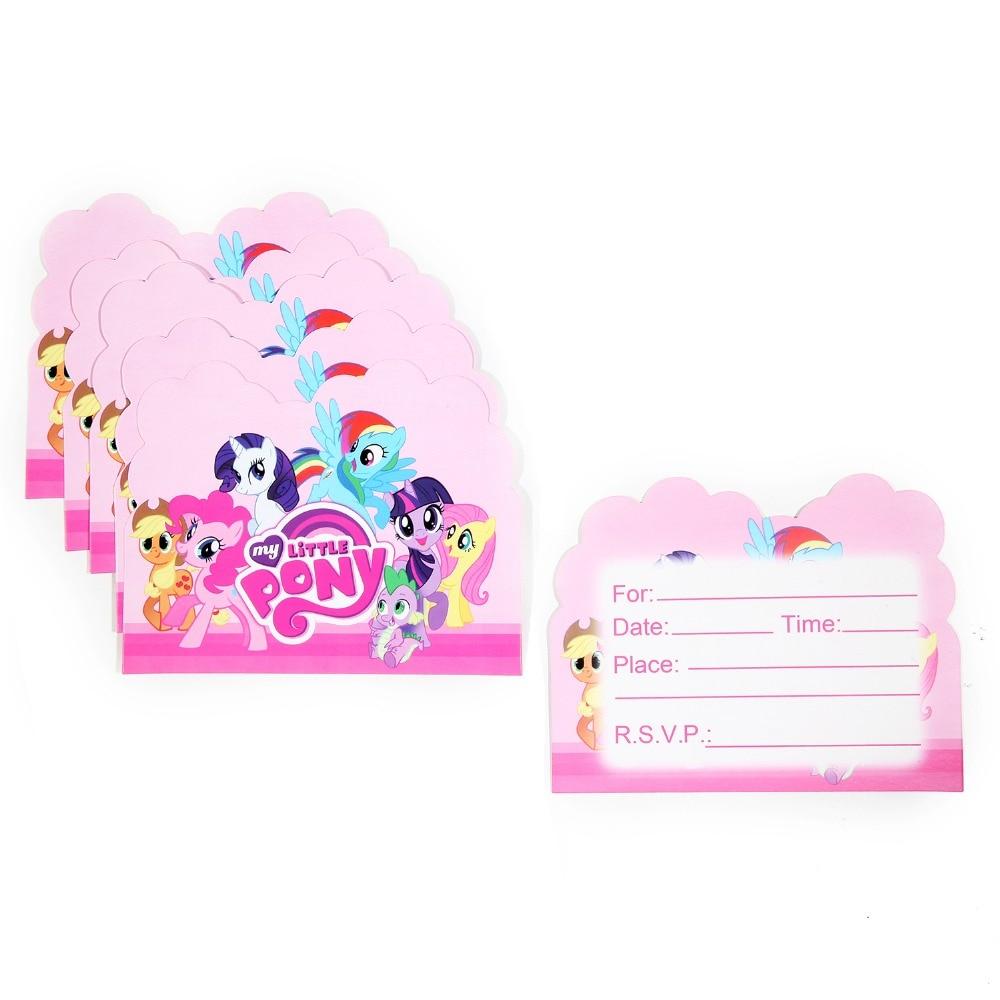 10pcs Wholesale My Little Pony Theme Invitation Card Party
