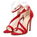 Más nuevas Mujeres Atractivas Sandalias de Punta Abierta Correas Del Tobillo Tacones Altos Stilettos Suede Bombas Sapatos Femininos sandalias de Boda 102-8VE