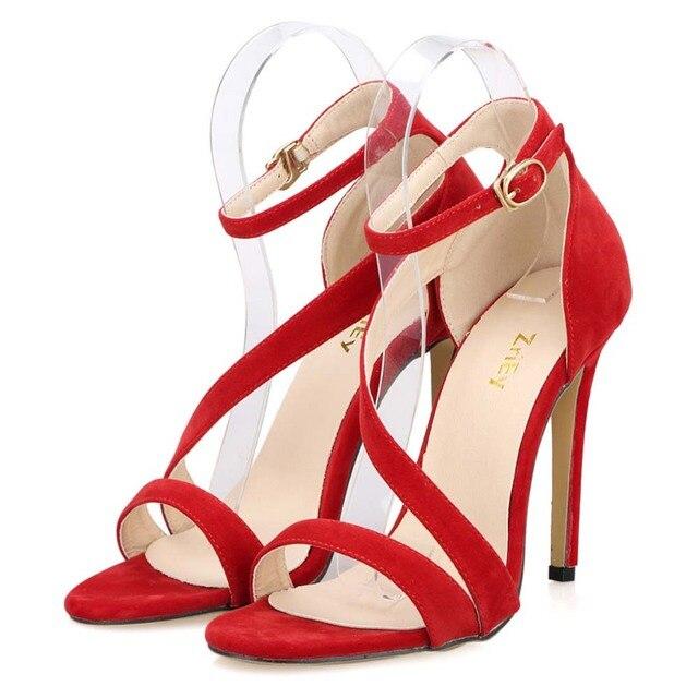 Newest Women Sexy Sandals Open Toe Ankle Straps High Heels Stilettos Suede Wedding Pumps Sapatos Femininos Sandalias 102-8VE