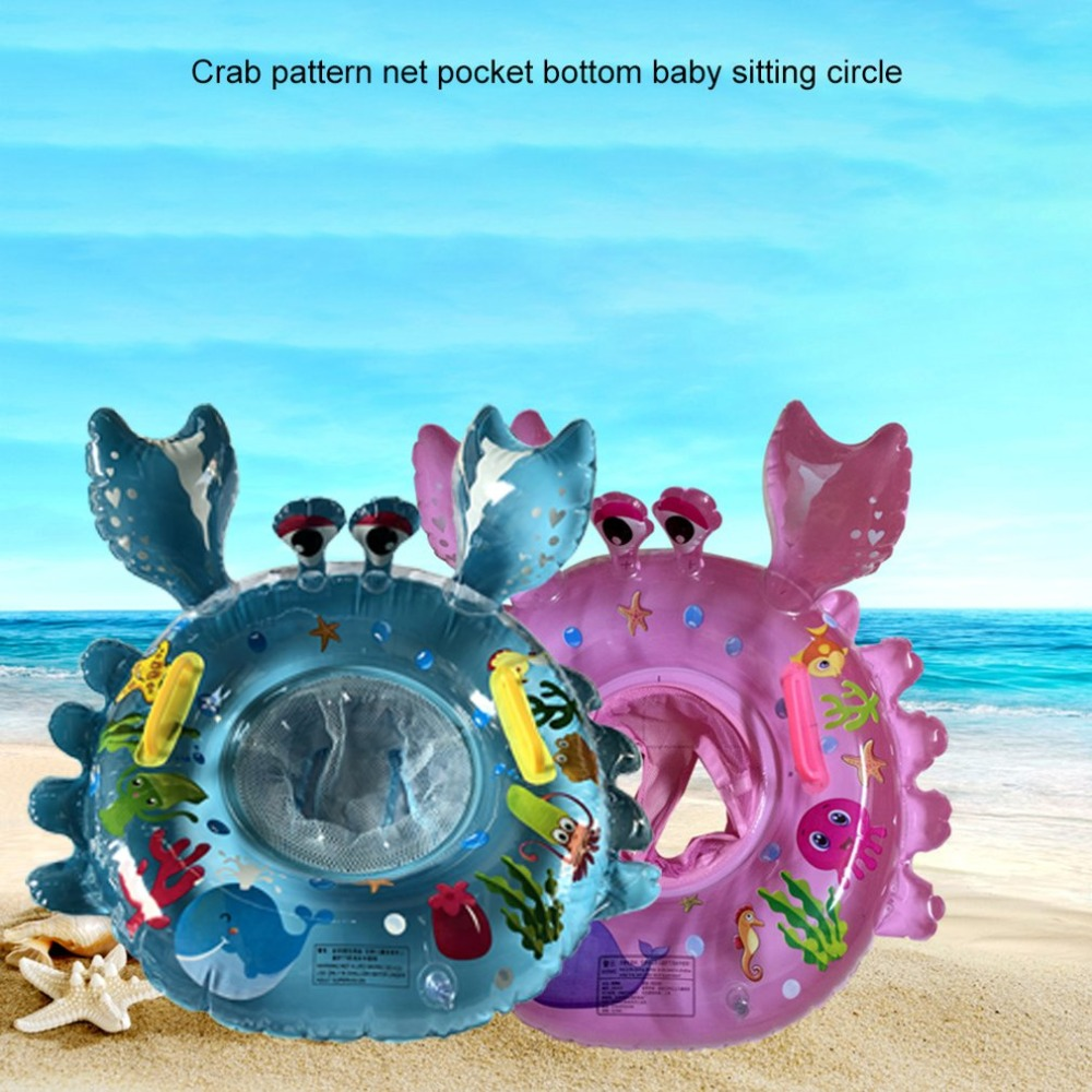 Baby Cute Safety Crab Swimming Ring Seat Printing Carton Thicken Inflatable Pool Floats Water Mattress Circle Infant Swim Ring