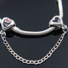 dodocharms Fashion Silver Color Screw Hole Safety Chain DIY Thread Jewelry Safety Chain Fits Pandora Bracelet Women Gift