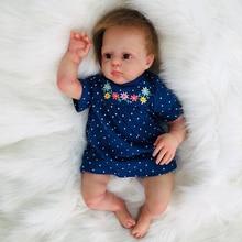 New art 50cm soft Silicone Reborn Baby Doll cloth body  Realistic Girl Princess Dolls Kids Birthday Xmas Gift brown eyes