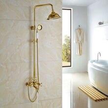 """Badezimmer Dusche Wasserhahn mit 8 """"Regendusche Kopf Gold Finish Wand Montiert"""
