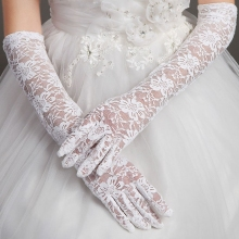 Women Bridal Gloves Elbow Length Full Finger Lace