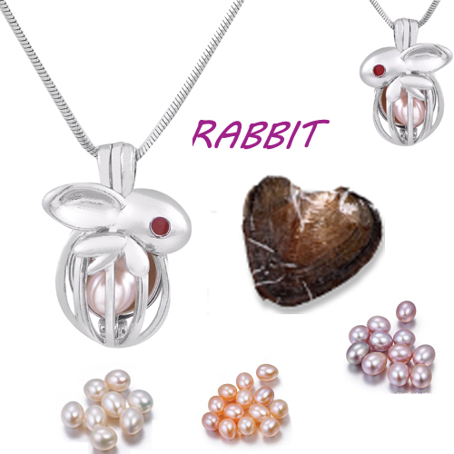 Glove cage pendant Silver Plated with Vacuum oyster pearl great Fashion mix Style Jewelry Valentine's day meaning present  PO148 2