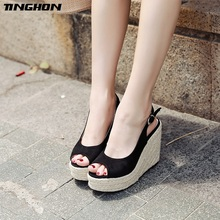 TINGHON Women Solid Black Platform Sandals Peep Toes Wedge Espadrilles Buckle Strap Comfortable