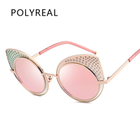 POLYREAL 2017 NEW Fashion Vintage Rhinestone Cat Eye Sunglasses Women Brand Designer Cateye Sun Glasses For