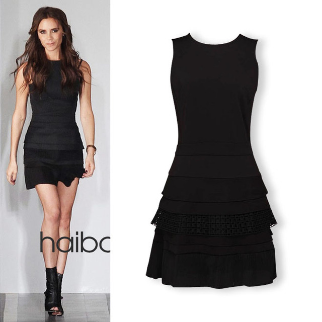 c587cd7fbad99 2013 Brand New fashion spring and summer Dress victoria slim design  pressure pleated short little black Dress XJ-50