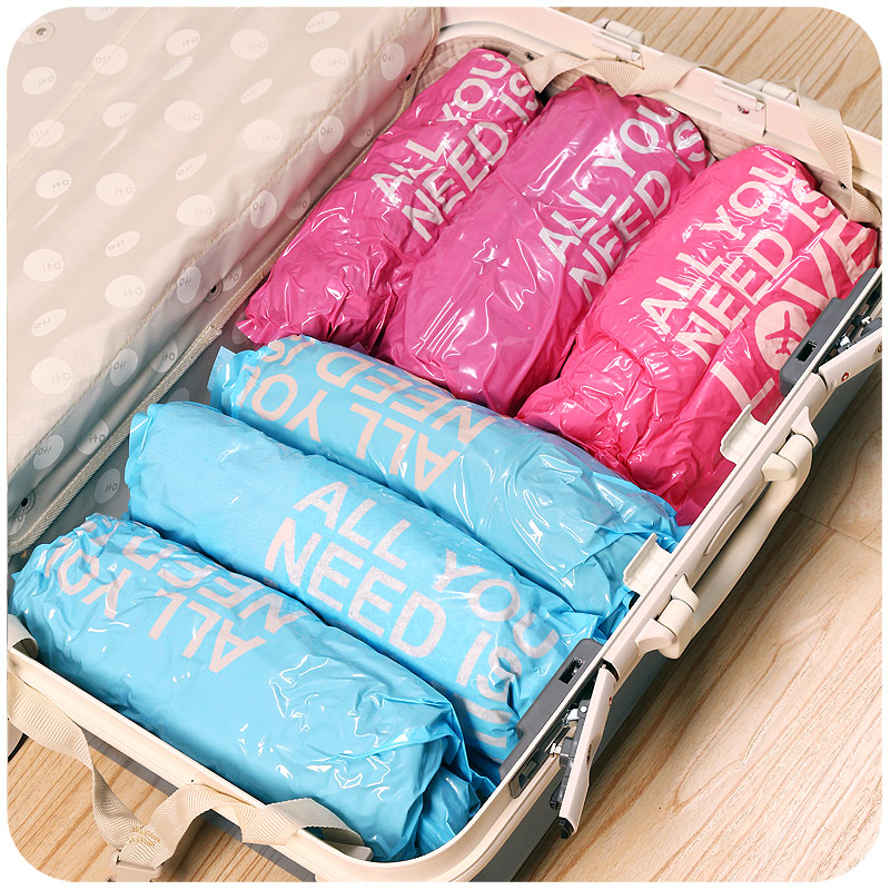 3 Packs Lot Hand Roll Seal Vacuum Bags For Clothes Wardrobe Luggage Storage Bag Travel Laundry In From Home Garden On