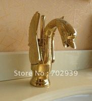 EMS Free shipping Gold finish PVD bathroom basin sink swan mixer faucet single hole