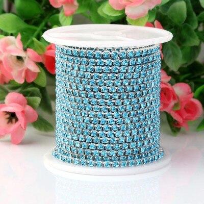1 ярд/шт, 30 цветов, стеклянные хрустальные стразы на цепочке, Серебряное дно, Пришивные цепочки для рукоделия, украшения сумок для одежды - Цвет: Turquoise blue