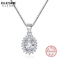 BELAWANG Authentic Solid Real 100 925 Sterling Silver Sparkling Flower Shape Austrian Crystal Necklace Pendant For