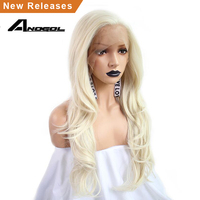 Anogol 613 Platinum Blonde High Temperature Fiber 360 Frontal Free Part Long Natural Wave Synthetic Lace Front Wig For Women
