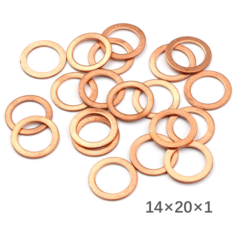 20Pcs 14*20*1MM Flat Ring Seal Kit Copper Washer Solid Gasket Sump Plug Oil Seal Tool Fittings For Generators Machinery Exhaust Gaskets    - title=