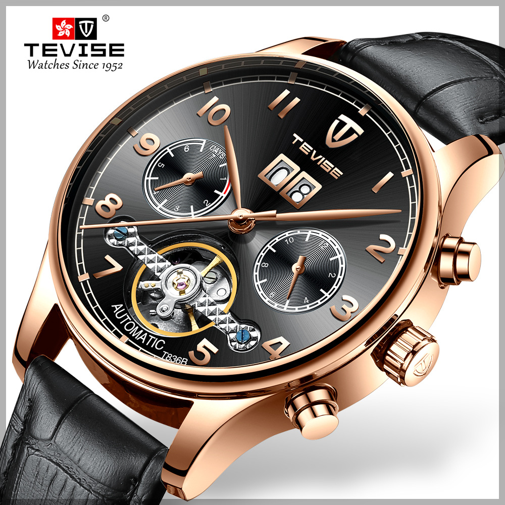 TEVISE Luxury Waterproof Automatic Men Mechanical Watch Date Self Winding Man Casual Leather Wristwatch Sport Military