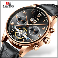 TEVISE Luxury Waterproof Automatic Men Mechanical Watch Date Self-Winding Man Casual Leather Wristwatch Sport Military Watches