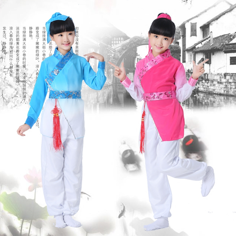 Chinese style children's costume Hanfu Guoxue clothing primary and secondary school uniforms reading recited stage costumes