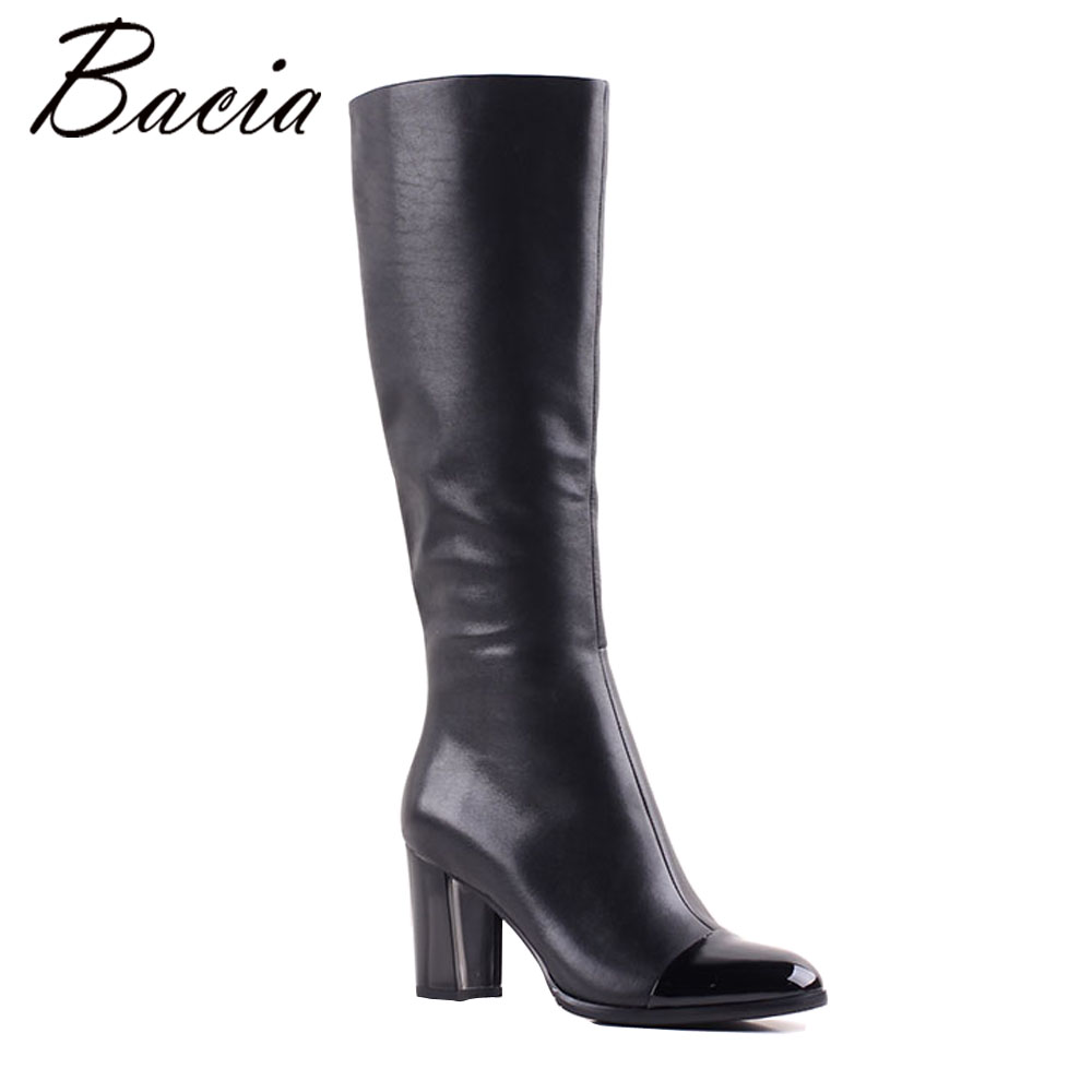 Bacia NEW Cow Leather 8cm High Heel Boots Shoes Woman Synthetic Short Plush Inside Autumn Winter Snow Boots Size 35-40 MB005 kelme 2016 new children sport running shoes football boots synthetic leather broken nail kids skid wearable shoes breathable 49