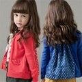 2016 Primavera Outono Bebê meninas moda cardigan de algodão polka dot botão Casacos Para As Meninas das crianças casaco de manga longa outwear