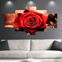 5 قطع طباعة الملصقات الزهور الإيمان الحب الأحمر الورود اللوحة الحديثة ديكور المنزل جدار الفن صورة النفط الطلاء على قماش لغرفة النوم