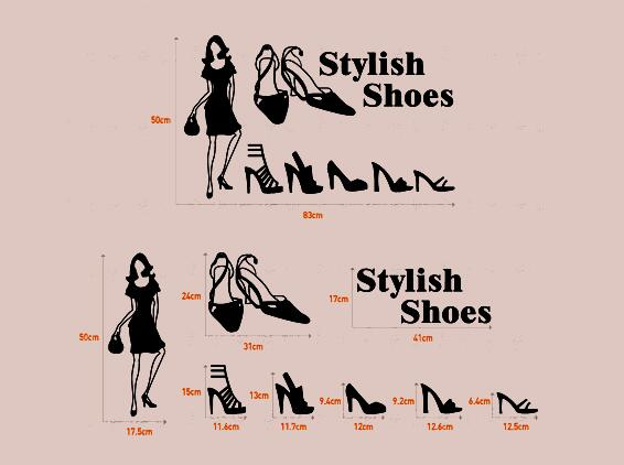 Stilige sko butikk utstillingsvindu glass vindu klistremerke vegg - Hjemmedekorasjon - Bilde 2