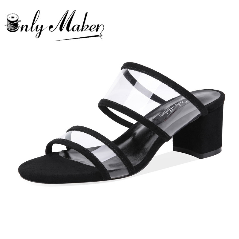 цена на onlymaker Womens PVC Clear Double Straps Block Heel Slide Sandals Open Toe Slip on Mule Dress Slippers Summer plastic clear hee