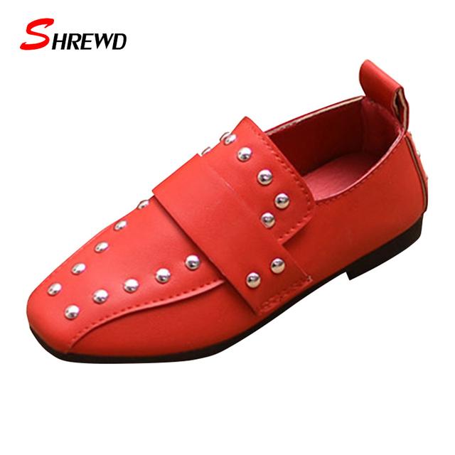 Shoes for kids meninas 2017 new sprign rebites casuais meninas shoes simples fundo macio crianças shoes palmilha 16-22 cm 9598 w