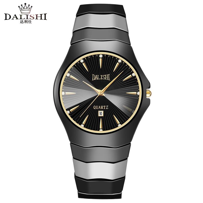 Dalishi Лидирующий бренд Керамика мужской часы кварцевые Для мужчин Часы платье в деловом стиле Часы Мода простой набор часы Relogio Masculino